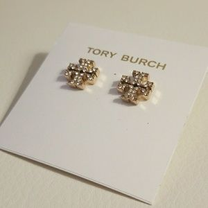 Tory Burch pave Logo earrings  Rose gold